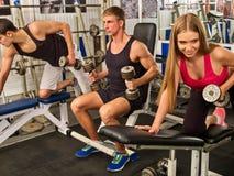 Amici nell'allenamento della palestra con l'attrezzatura di forma fisica Uomini di addestramento Immagine Stock