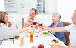 Amici pensionati che tostano insieme Fotografie Stock Libere da Diritti
