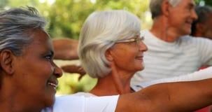 Amici senior che fanno allungando esercizio in giardino 4k video d archivio
