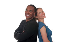 Amici sorridenti felici su priorità bassa bianca Immagine Stock Libera da Diritti
