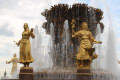 Amicizia della fontana della gente a VDNH a Mosca, Russia immagini stock libere da diritti