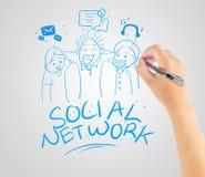 Amicizia della rete sociale del disegno della mano Immagini Stock
