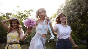 Amicizia delle donne Tre ragazze attraenti in attrezzature di estate Tenendosi per mano insieme, camminando allegro nella foresta video d archivio