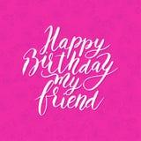 Amico di buon compleanno Congratulazione della citazione disegnata a mano Illustrazione Vettoriale