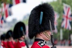 Amid strakke veiligheid, Koninklijke Wachten in rode en zwarte eenvormige en bearskins lijn de Wandelgalerij, Londen royalty-vrije stock foto's