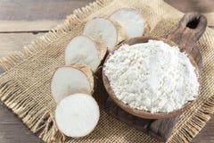 Amidon cru de yucca sur la table en bois - Manihot esculenta photographie stock libre de droits