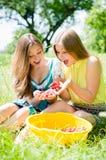 Amie de jeunes femmes ont moissonné des fraises Photographie stock libre de droits