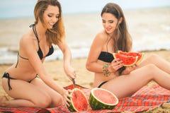 Amie deux se reposant sur la plage d'été Photographie stock