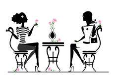 Amie en café illustration libre de droits
