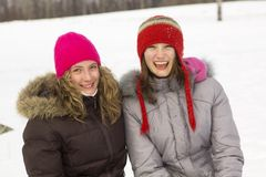 Amie en hiver Photographie stock