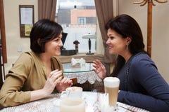Amie heureuse en rétro café Image stock
