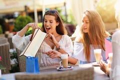 Amie heureux en café pendant l'heure d'été Image libre de droits