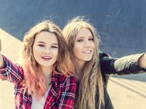 Amie heureux prenant un selfie un jour d'été Photo stock