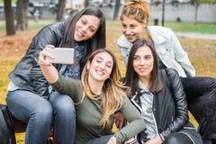 Amie heureux s'asseyant sur le banc de parc prenant des photos de selflie Photos libres de droits