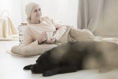 Amie malade de femme et de chien Photo stock