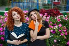 Amie romantique lisant un livre en parc Photographie stock