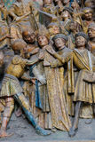 Amiens Cathedral. Famous sculpture depicting the life of Saint Firmin, a famous saint who died in Amiens. Located in the Cathedral of Our Lady of Amiens, France stock images