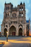 Catholic church. Cathedral of Our Lady of Amiens (Notre Dame Amiens), after sunset - landmark attraction in France Royalty Free Stock Photos