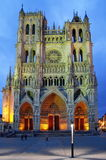 Catholic church. Cathedral of Our Lady of Amiens (Notre Dame Amiens), after sunset - landmark attraction in France. Catholic church. Cathedral of Our royalty free stock photo