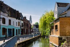Amiens, the saint Leu district in Picardie, France. Amiens, the district of Saint Leu with its small canals and typical houses of brick and wood Royalty Free Stock Photo