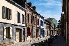 Amiens, the district of Saint Leu in Picardy in France. Amiens, the district of Saint Leu with its small canals and typical houses of brick and wood Stock Photography
