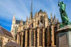 amiens domkyrka gotisk arkitekturfransman fotografering för bildbyråer