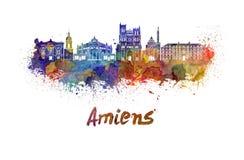 Amiens skyline in watercolor Stock Photo