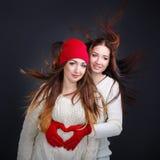 Amies étreignant dans un chandail chaud Coeur des doigts Photos libres de droits