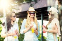 Amies appréciant des cocktails par une fontaine d'eau Photo stock
