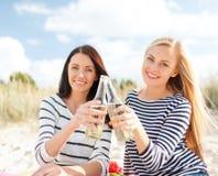 Amies avec des bouteilles de bière sur la plage Photos stock