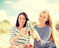 Amies avec des bouteilles de bière sur la plage Photographie stock libre de droits