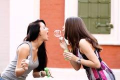 Amies avec des bulles de savon dehors Photo stock
