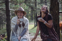 Amies buvant du café sur la nature dans le pays Style folklorique Photo stock