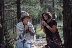 Amies buvant du café sur la nature dans le pays Style folklorique Image stock