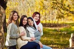 Amies dans la forêt d'automne Images libres de droits