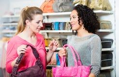 Amies dans le sac à main de achat de magasin de mode Images libres de droits