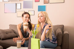 Amies dans un café Images stock
