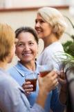 Amies de femme sur la terrasse d'été Images libres de droits