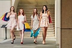 Amies de femmes avec des paniers Photo stock