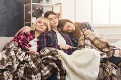 Amies dormant ensemble sur le sofa à la maison Photo stock