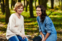 Amies en parc d'automne Photos libres de droits