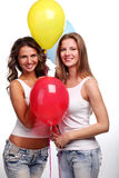 Amies et ballons Photographie stock libre de droits