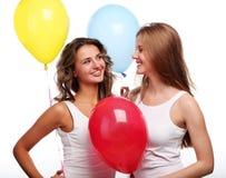Amies et ballons Images libres de droits