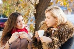 Amies et café en automne Photographie stock