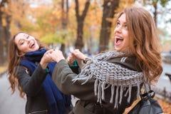 Amies gaies ayant l'amusement dans le parc d'automne Photographie stock libre de droits