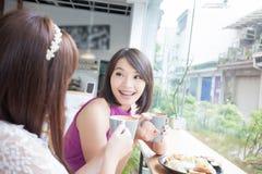 Amies heureuses de femme dans le restaurant Photos stock