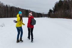 Amies heureuses en bois d'hiver Photo libre de droits