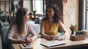 Amies heureux parlant la séance à la table en café appréciant la conversation banque de vidéos
