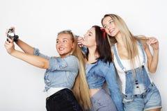 Amies heureux prenant quelques photos avec l'appareil-photo Image stock