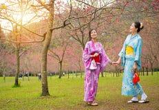 Amies japonaises heureuses tenant des mains Photos libres de droits